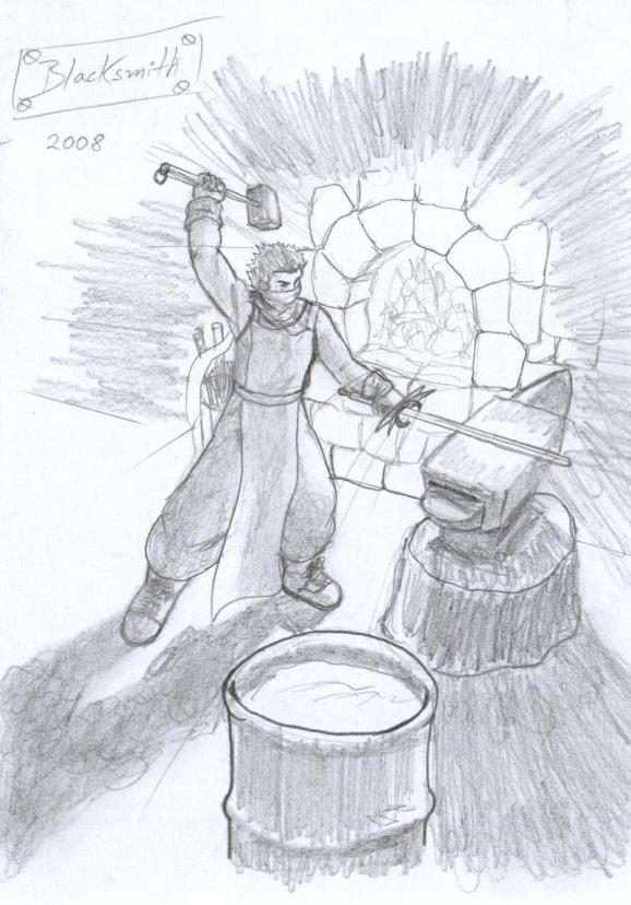 El Blacksmith trabajando... mejorando la calidad de su arte.