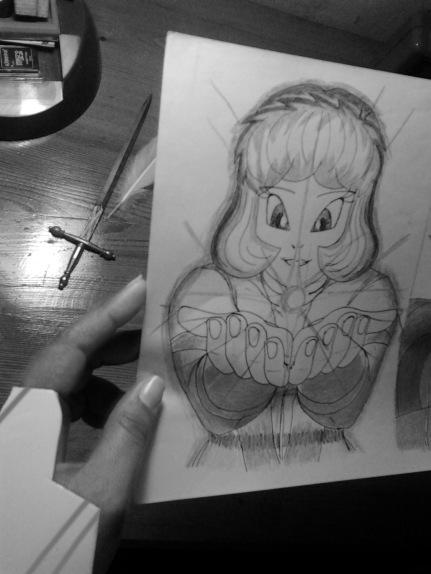 Angeline muestra un dibujo que le hicieron de adolescente.